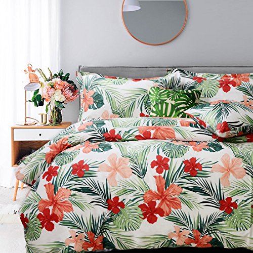 FADFAY Hawaiian Style Red Hibiscus Palm Leaves Duvet Cover Set Summer Bedding Super Soft 100% Hypoallergenic Cotton,1 Duvet Cover & 2 Pillow Shames,King Size