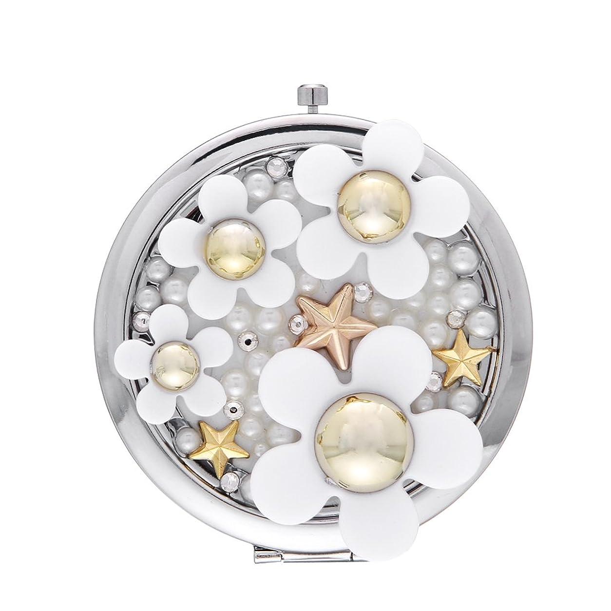 シンポジウム仮定ケーキEOZY オシャレで可愛いデイジーデザイン手鏡ハンドミラー折りたたみ7*7cmレディースガールズ化粧お出かけ