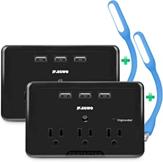 2 Pack 3 Outlets 3 USB Wall Plugs, 3.1A USB Outlet 918 Joules, Easy to Plug in Black Outlet USB Extender by Jf.egwo