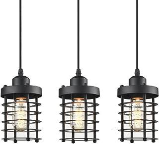 WINSOON 3 Pack Pendant Light Fixture Mini Rustic Metal Cage Hanging Lighting (Black, 3Pack)
