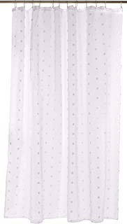 Dainty Home 3D Modern Cut Flower Textured Surface Fabric Shower Curtain, Solid White