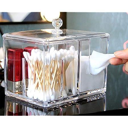 YAH Caja de almacenamiento cosmético de acrílico transparente Cotton Pad Swab Organizadores de maquillaje con tapa Vanity encimera de baño o Dresser almacenamiento Cuarto de baño y tocador almacenamiento con cubierta