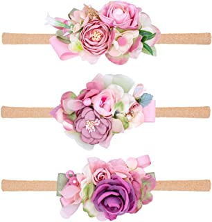 Baby Floral Headbands and Bows Nylon Girls Flower Headwraps for Newborn Infant Toddler Accessories