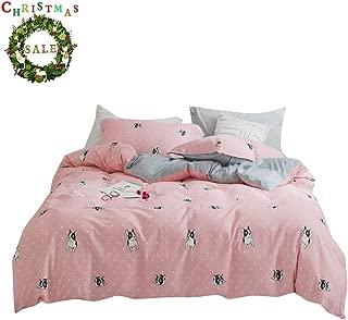 FenDie Puppy Girls Duvet Cover Set Lightweight French Bulldog Printed Bedding Set Cotton 100 Percent Dot Pattern Reversible Plaid Kids Teens Modern Pink Duvet Cover Set, Twin