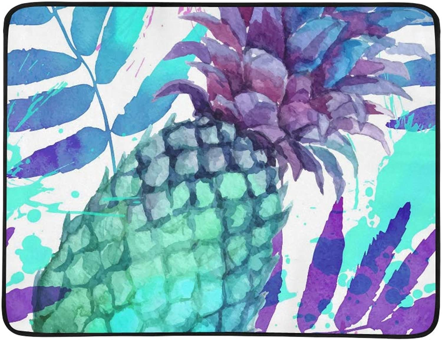 Watercolor Painted Vivid colors Pineapples and Lea Pattern Portable and Foldable Blanket Mat 60x78 Inch Handy Mat for Camping Picnic Beach Indoor Outdoor Travel