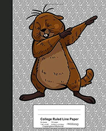 College Ruled Line Paper: Beaver Funny Groundhog Book