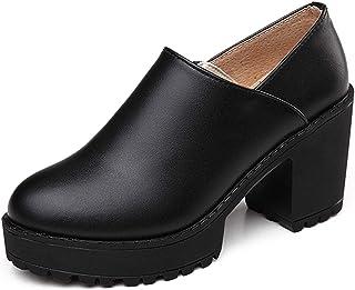 [Fainyearn] レディース 革靴 パンプス ローファー レディース 女子 厚底 ヒール 太ヒール 厚底 パンプス スリッポン
