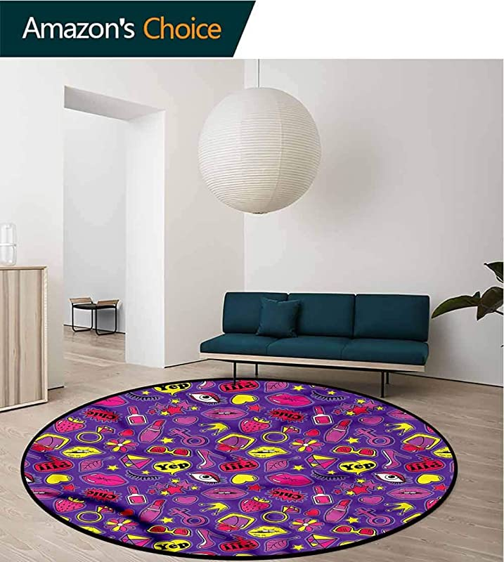 RUGSMAT Emoji Area Silky Smooth Rugs 90S Comics For Women Foam Mat Living Room Decor Round 31