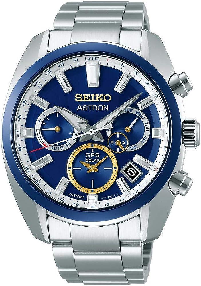 Seiko astron novak djokovic,orologio per uomo,in acciaio e la lunetta in ceramica rossa e blu SSH045J1