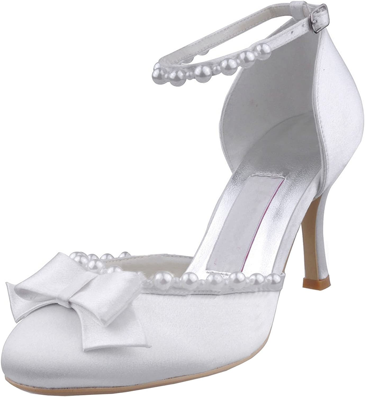 Minishion MZ608 Womens Pointy Toe Mid Heel Back Strap Bridal Wedding Satin Pump shoes