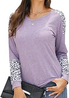 GAGA Women Soft Leopard Print Tops Color Block Long Sleeve Crew Neck Sweatshirts Casual Blouses Cheetah Print Shirt