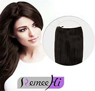 Remeehi Straight Invisible Wire Halo Hair Extensions Remy Real Human Hair Extensions 80G 15 Inches #1B Natural Black