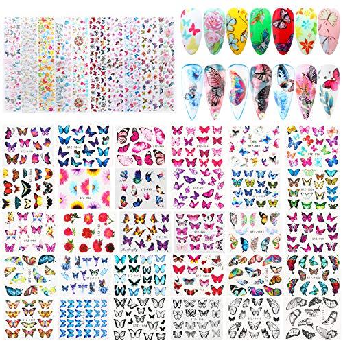 40 Fogli Adesivi Nail Art di Farfalla Adesivi Unghie Adesivo Decalcomania Trasferimento ad Acqua 3D Nail Stickers Water Decals Nails Fai da Te Arte Unghie Autoadesivi Nail Art