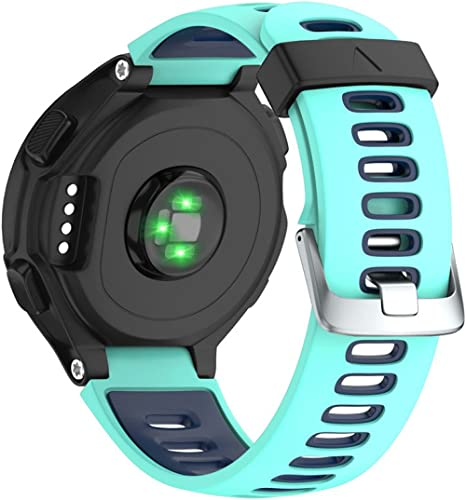 NotoCity Replacement for Bracelet Garmin Forerunner 735XT/230/220/235/620/630 Boucle d'argent Noir + Menthe