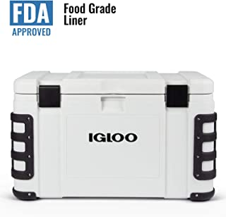 Igloo Leeward 50 Quart Cooler with Cutting Board, Fish Ruler, and Tie-Down Points - Marine-Grade Ice Chest - White