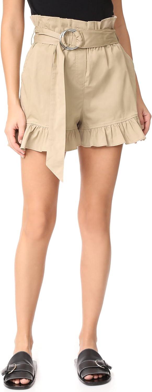Cinq a Sept Womens Braxton Ruffled Cotton Khaki Shorts