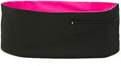 Hips-sister LCR-BLKBLKPNK-C-1-C Travel/Money Left Coast Waistband Running/Walking/Hiking Waistband, Modern Fanny and Waist Pack, Pockets with Zippers, fits All Smartphones; Black Pink C