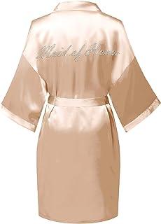 Women's Satin Wedding Dressing Gown Short Kimono Robe for Bride Bridesmaid