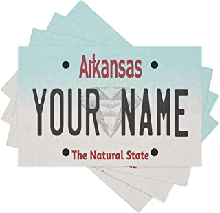 Bleu Reign BRGiftShop Personalized Custom Name Arkansas State License Plate Set of 4 Linen Table Placemats
