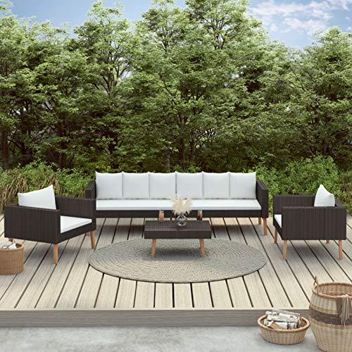 Tidyard Set de Muebles de Jardín 4 pzas y Cojines Juego de Sofá y Mesa Exterior Ratán Sintético Negro