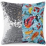 KAZOGU Funda de almohada reversible con lentejuelas y purpurina,...