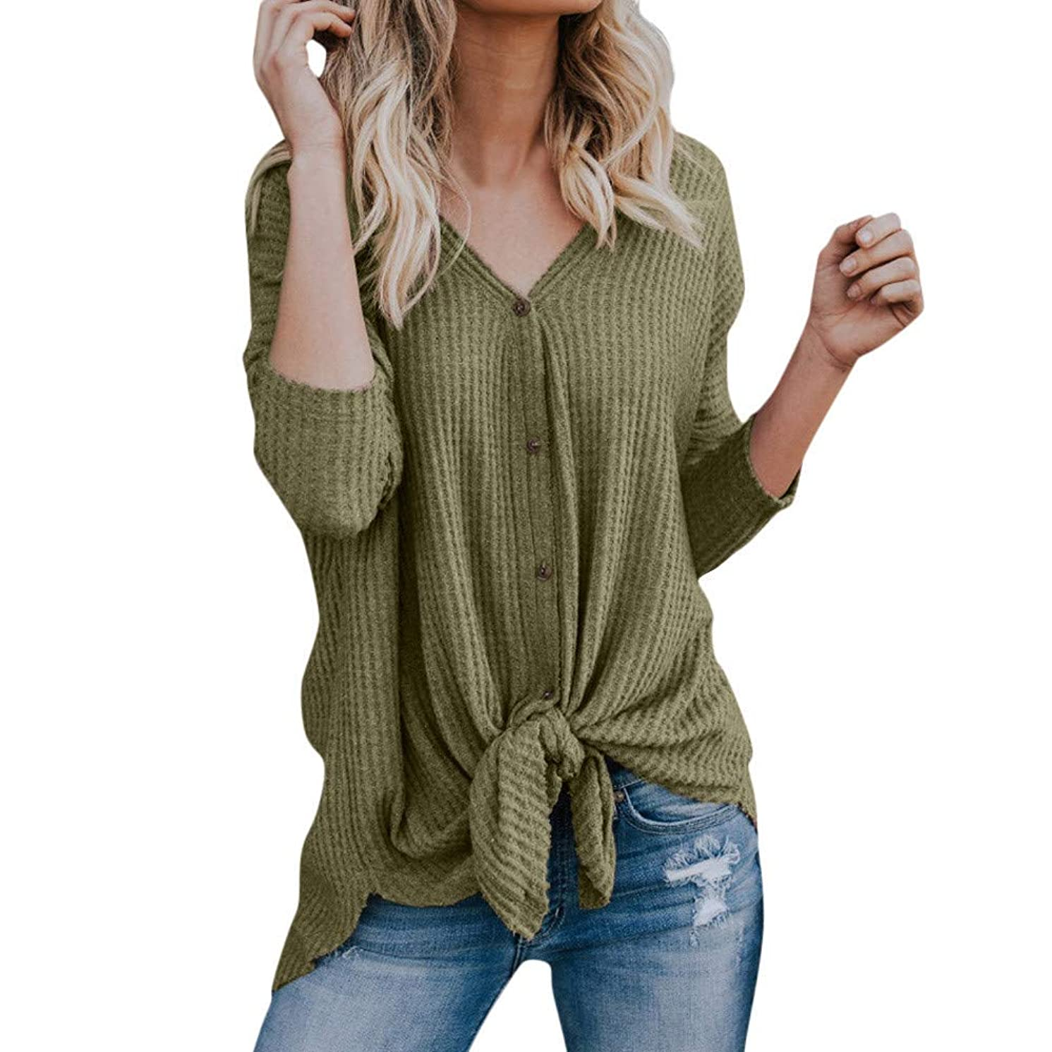 vermers Womens Waffle Knit Tunic Blouse Tie Knot Henley Tops Loose V-Neck Button Fitting Batwing Plain Shirts