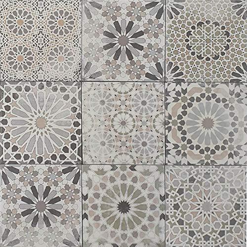 1 Musterfliese | Marokkanische Patchwork Fliese Arabesque 18,7x18,7 cm | Feinsteinzeug frostsicher | für Küche Flur Bad & Küchenrückwand | MF700
