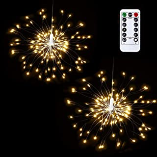 Lyhope 2 Pack Fairy Lights, 120 Led 8 Modes Battery Operated Starburst Lights, Waterproof Dimmable Decorative Starry Lights with Remote Control for Home,Wedding,Party,Patio,Xmas Decor (Warm White)