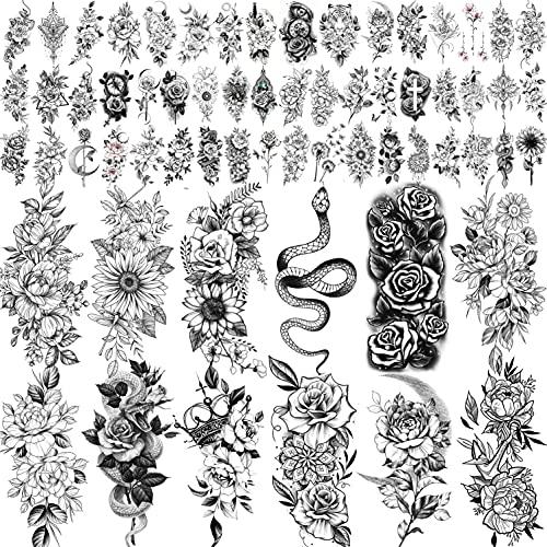 COKTAK 64 Blatt Sexy 3D Rose Blume Temporäre Tattoos Frauen Mädchen Damen Hals Arm, Schlange Blumen Sonnenblume Pfingstrose Fake Tattoo Aufkleber Erwachsene, Schwarz Realistisch Tattoos Schmetterling