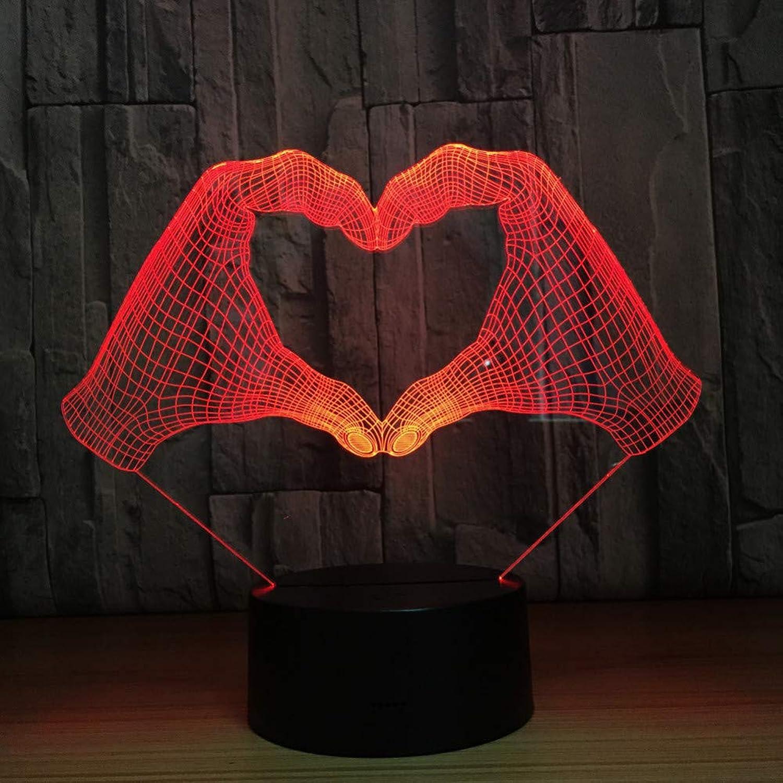 Laofan Liebevolle Geste 3D Nachtlicht Touch Switch 7 Farben Led Tischlampe Für Kind Freundin Geschenk,Fernbedienung
