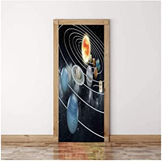 Door Sticker 3D Sticker Cosmic Starry Sky Wall Paper Removable Self-Adhesive Murals for Bedroom Office Wall Stickers Home Decoration-GRESt -90cm(W)200cm(H)