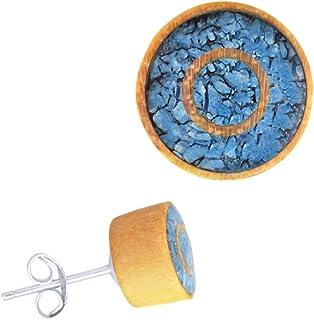 Orecchini in legno, in acciaio inox, color turchese e turchese, rotondi, 8 mm, con pietra intarsio in pietra, a mosaico, i...