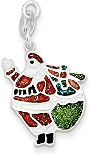 925 Sterling Silver Enameled Santa Pendant Charm Necklace Holiday Fine Jewelry For Women