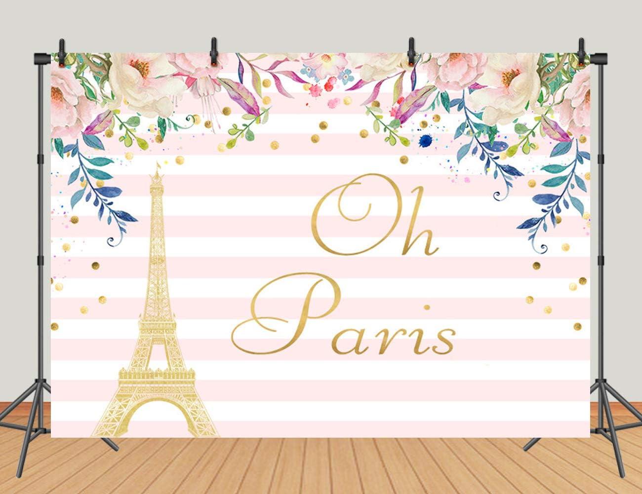 Sensfun 8x6ft Paris Eiffel Tower Photography Backdrop Striped Flowers Birthday Party Decorations Newborn Vinyl Background