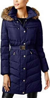 Faux-Fur-Trim Belted Hooded Puffer Down Coat Navy