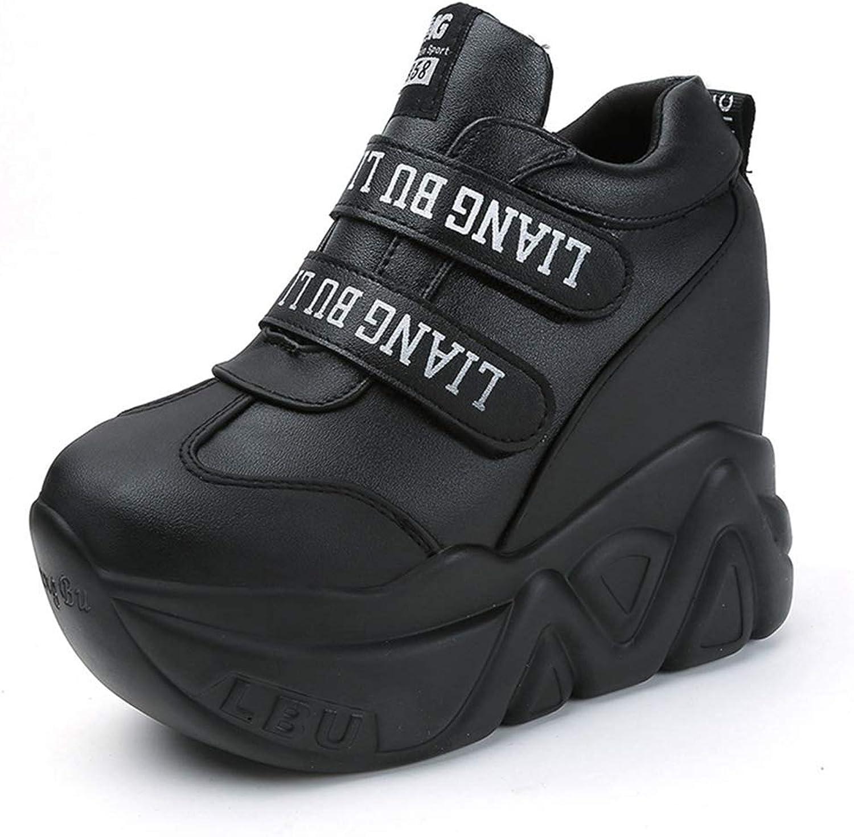 Gedigits Super High Wedge Sneakers Woman Auutmn Leahter Girls Casual shoes Hook Loop Comfortable Platform Sneakers Black 6.5 M US