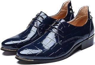 Scarpe Eleganti da Uomo Tinta Unita Casual Punta a Punta Stringate Stringate Scarpe da Lavoro in Pelle Formale da Lavoro p...