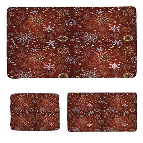 Set di tre pezzi per bagno invernale di lusso con cuori e vortici, stile antico, stile vintage, composto da tre misure: grande, media e piccola, media, tre pezzi