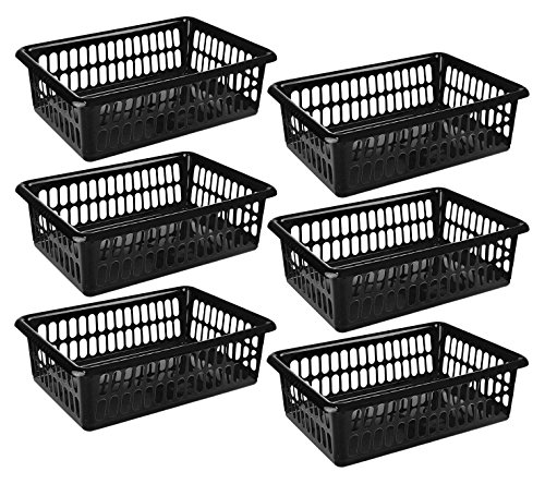 "Zilpoo 6 Pack - Plastic Storage Organizing Baskets, Food Pantry Closet Shelves Large Organizer Bins, 15"" x 10"", Black"
