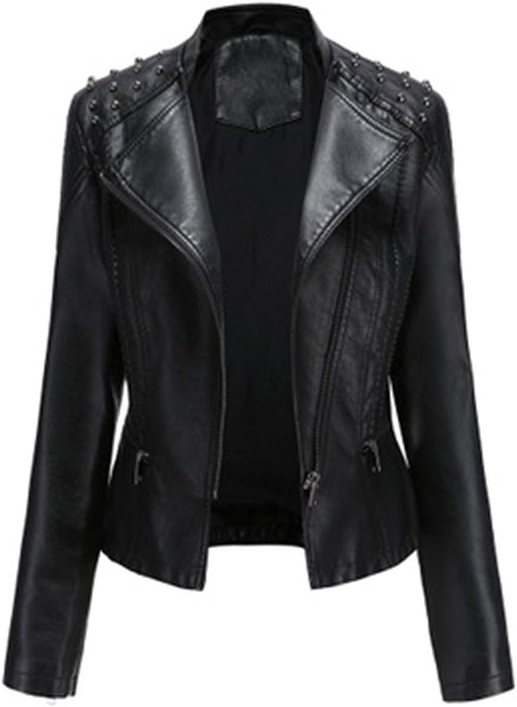 Yiqinyuan Women Autumn Winter Faux Soft Leather Jackets Coats Lady Black PU Zipper Motorcycle Streetwear Black L