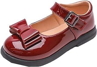 Filles Chaussures habillées en Cuir Verni Bout Rond Couleur Unie Bowknot Chaussures de Princesse Enfants fête de Mariage M...