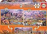 Educa- Animales Salvajes 2 Puzzles x 100 Piezas, Multicolor (18606)