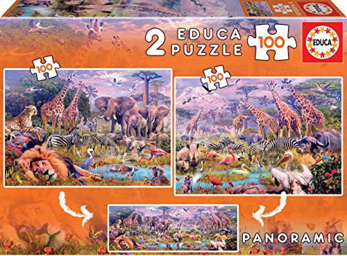 Educa- Animales Salvajes Panoramico 2 Puzzles Infantiles de 100 Piezas, a Partir de 6 años (18606)