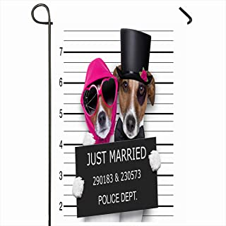 Ahawoso Seasonal Garden Flag 12x18 Inches Groom Funny Couple Newlywed Just Married Dogs Mugshot Sports Recreation Bridal Arrest Bad Bond Design Home Decorative Outdoor Double Sided House Yard Sign