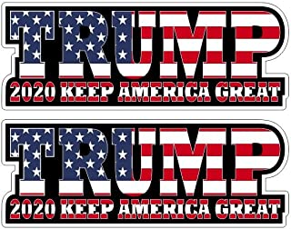 Donald Trump 2020 Keep America Great President Election Sticker Decal Pegatinas/Plus Coconut Shell Keychain Ring/Patriotic Republican Car Truck Bumper Notebook (3 Stickers 6x2.25 (15x5.7cm))