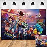 Cartoon Movie Toy Story Photography Backdrop for Boy Girl Happy Birthday Party Banner Decorations Vinyl Western Cowboy Carnival Photo Background 5x3ft Baby Shower Photo Booth Studio Props Supplies