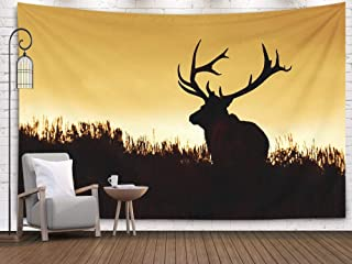 Anucky Tapestry Wall Hanging, Tapestries Polyester Fabric for Home Decoration, Huge Bull Elk Stag Trophy Antlers in Prairie Habitat Silhouette Against Dorm Décor and Bedroom 60X50 Inch Huge Tapestry