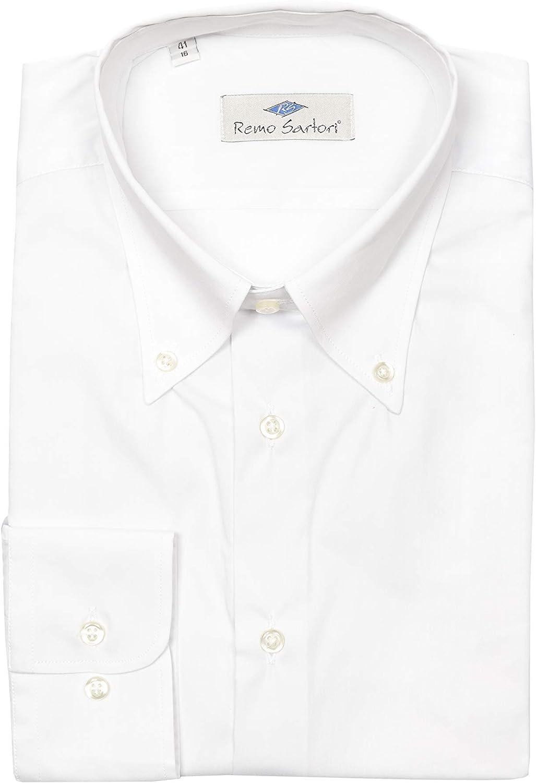 Made in Italy vestibilit/à Regolare Maniche Lunghe Camicia Uomo Button Down Cotone Tinta Unita Remo Sartori