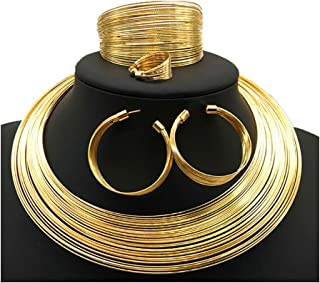 African Art Style Multi-Layer Gold Plated Chain Choker Necklace Hoop Earrings Cuff Bangle Bracelet Ring Set