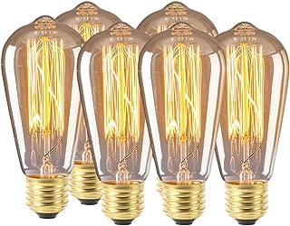 Amaae® ST64 LED لتزيين لمبة Retro Personality مصباح شفاف E26 E27 6 قطع (الخامة: ألومنيوم + زجاج؛ اللون: أبيض)